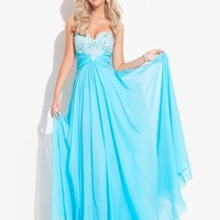 Lace Accented Ruched Waist Prom Dress By Rachel Allan Princess 2843