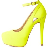 Neon Cut-Out Ankle Strap Platform Pumps - Neon Yellow