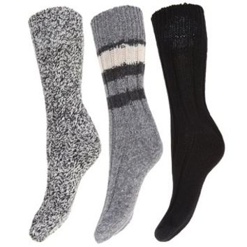 Ladies/Womens Thermal Thick Chunky WOOL Socks (Pack of 3) (6.5-9.5) (Brown)