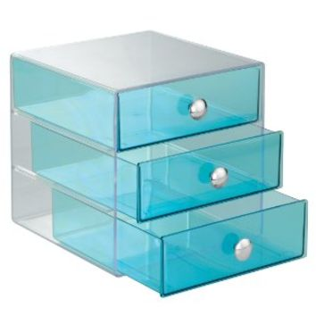 InterDesign 3-Drawer Multipurpose Storage Container with Knobs, Aqua