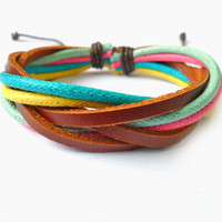 Bangle leather bracelet woven bracelet men bracelet women bracelet ropes bracelet with rope and leather woven SH-1466