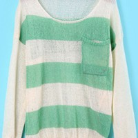 Green White Pockets Skull Print Knit Sweater - Sheinside.com