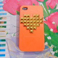 iphone golden pyramid stud orange Hard Case Cover For Apple iPhone 4,4S ,iPhone 4 Case, iPhone 4s Case, iPhone 4 Hard Case,  case-0201