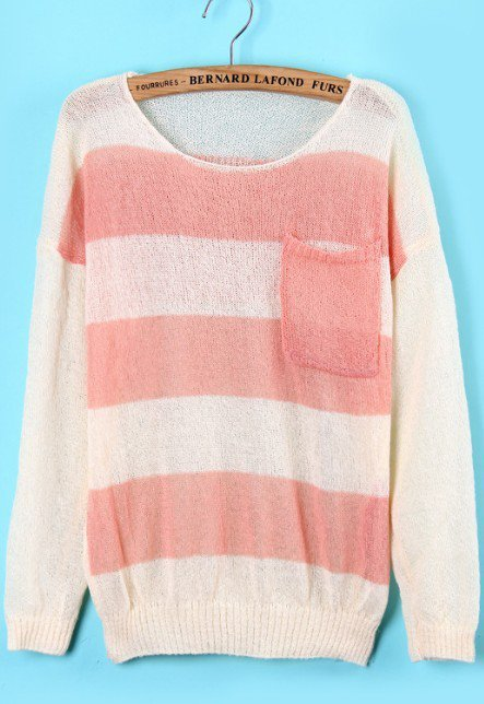 Pink White Pockets Skull Print Knit Sweater - Sheinside.com