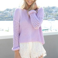 SABO SKIRT  Lilac Ribbed Knit - $48.00