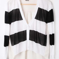 Black White Striped Long Sleeve V-neck Contrast Chiffon Back Cardigan - Sheinside.com