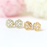 Lace Bow Earrings / gold and silver / choose your color