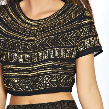 Kayla All Over Sequin Woven Crop Top