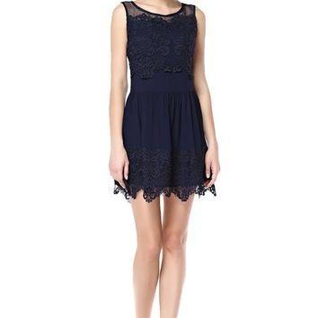 TopStyliShop Women's Floral Lace Sleeveless Dress with Mesh Neck