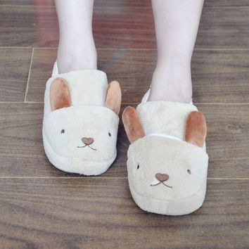 FunShop Women's Rabbit Shape Light Brown Indoor Slipper