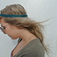 three strand crocheted headband - teal