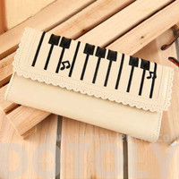 Piano Keyboard Musical Notes Shaped Bi Fold Clutch Long Wallet for Women in Cream - Keyboard Musical Notes Long Wallet in Cream
