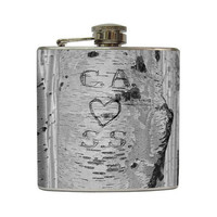 Custom Carved Initials with Heart on White Birch Tree Wedding Gift Stainless Steel 8 oz, 6 oz, or 4 oz Liquor Hip Flask LC-1013