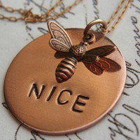 BEE NICE Necklace Hand Stamped Metal Copper  Pendant Unique