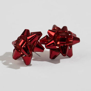 Christmas Bow Studs In Red