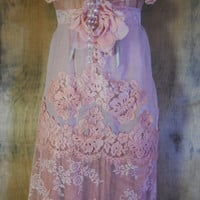Nude lace dress edwardian style cotton chiffon fairytale rose  vintage   romantic medium large  by vintage opulence on Etsy