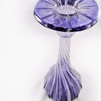 Art Glass - Vase or Candlestick, Purple, Swirl, Stretch Glass