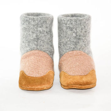 Baby Cashmere Shoes, Toddler Slipper Boots, Eco Friendly Wool And Soft Non Slip Leather Soles
