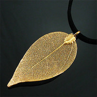 Gold Plated Real Leaf Necklace