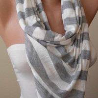 Light Grey and Off-White Scarf - Combed Cotton - Summer Colors