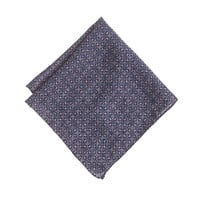J.Crew Mens Italian Wool Two-Sided Pocket Square In Navy Medallion
