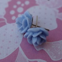 Periwinkle Flowers Post Earrings