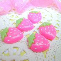 Kawaii Cabochons Flatbacks Pink Strawberries 5 Pieces
