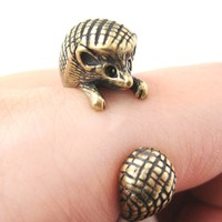 Hedgehog Porcupine Animal Wrap Around Ring in Brass - Sizes 4 to 9 Available -