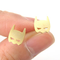 Batman Symbol Mask Shaped Stud Earrings in Gold | Allergy Free