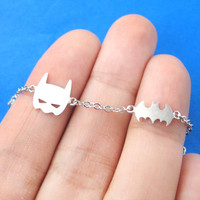 Batman Bat Logo Silhouette and Mask Charm Bracelet in Silver | DOTOLY - Batman Mask and Logo Charm Bracelet in Silver