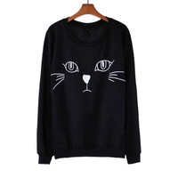 Adorable Kitty Cat Face Long Sleeve Pullover Sweatshirt Sweater for Women in Black - One