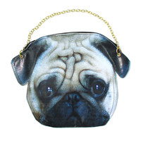 Realistic Pug Puppy Dog Head Shaped Vinyl Animal Photo Print Cross Shoulder Bag | DOTOLY - Pug Shaped Vinyl Xbody Bag