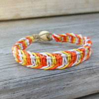 Candy Corn Hemp Bracelet Macrame Made To Order Unisex