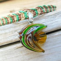 Hemp Necklace Glass Fish Pendant Eco-Friendly For Women Fishbone Knot
