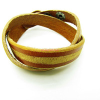 unisex bracelet couple leather bracelet  women orange Leather Bracelet Men Leather Bracelet 1264A
