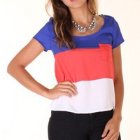 RED NAUTICAL TRENDY COLORBLOCKED POCKET BOXY TOP @ KiwiLook fashion