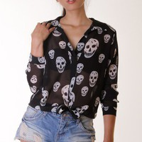 BLACK SKULL PRINT FRONT TIE SHIRT @ KiwiLook fashion