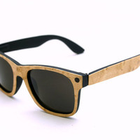 LIMITED EDITION Wooden Wayfarer Sunglasses Birds Eye Maple Wood Veneer Sunglasses // no. 1430