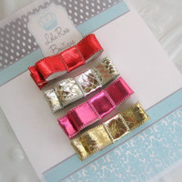 Baby Hair Clip Set-Metallic Bows-Set of 4-Holiday Clips-Baby Bows-Infant Hair Bow-Bow Clips
