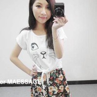 YESSTYLE: Goodies- Cat-Print Short-Sleeve Tee (White - One Size) - Free International Shipping on orders over $150