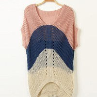 Pink V Collar Bat Sleeve Stitching Sweater $38.00