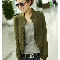 Cotton Green Long Sleeve Stand Collar Double-Breasted Shoulder Mark Short Jacket  style cy820007-Green