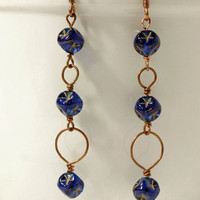 Dark blue star earrings, copper stars and circles, by Littletreeofjewels