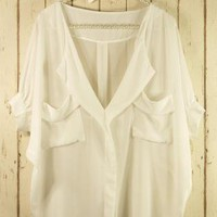 White Oversized Top with Front Draped Pockets