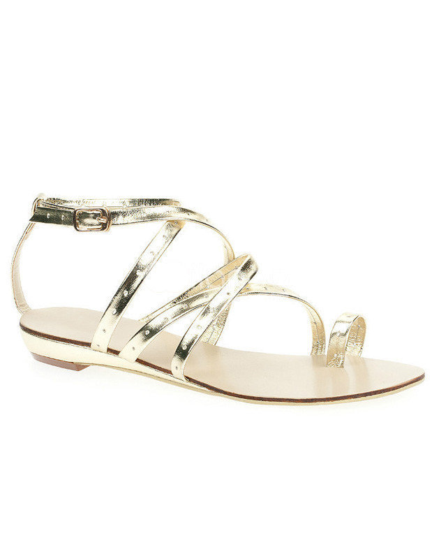 Glitter Golden PU Leather Criss-Cross Women's Thong Beach Sandals -  Milanoo.com