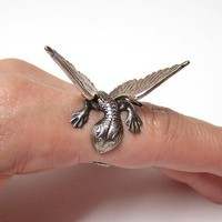Steampunk Dragon Ring dragon body wrap around by chinookhugs