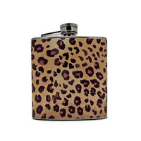 Leopard Print Flask  6 or 8 oz with Funnel and Tote Bag