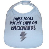Amazon.com: These Fools Put My Cape On Backwards Infant Toddler Superhero Bib Funny Baby Shower Gift - Baby Blue / Navy: Baby