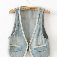 Fashion Blue Denim Vest $37.00