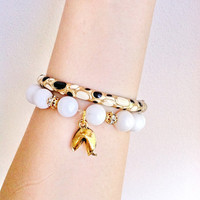 White Lucky Fortune Cookie Bracelet